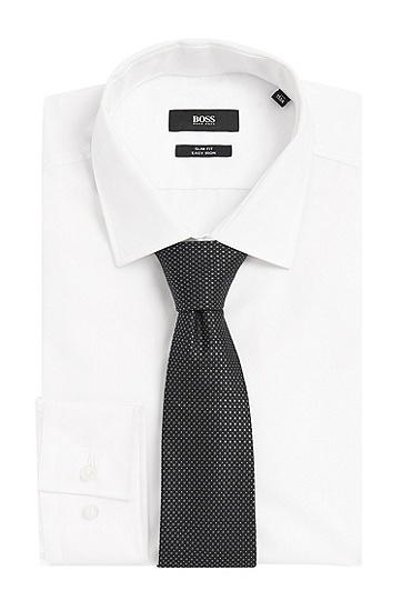 Gemusterte Krawatte aus Seide: 'Tie 7,5 cm', Schwarz
