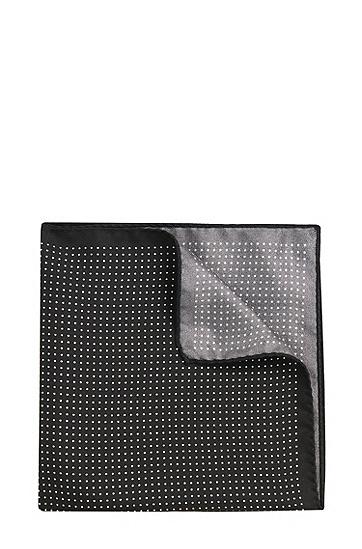 Gemustertes Einstecktuch aus Seide: 'Pocketsquare 33x33cm', Schwarz