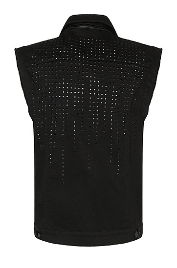 Slim-Fit Jeansweste aus elastischer Baumwolle mit Nieten-Besatz: 'Hugo 062', Schwarz
