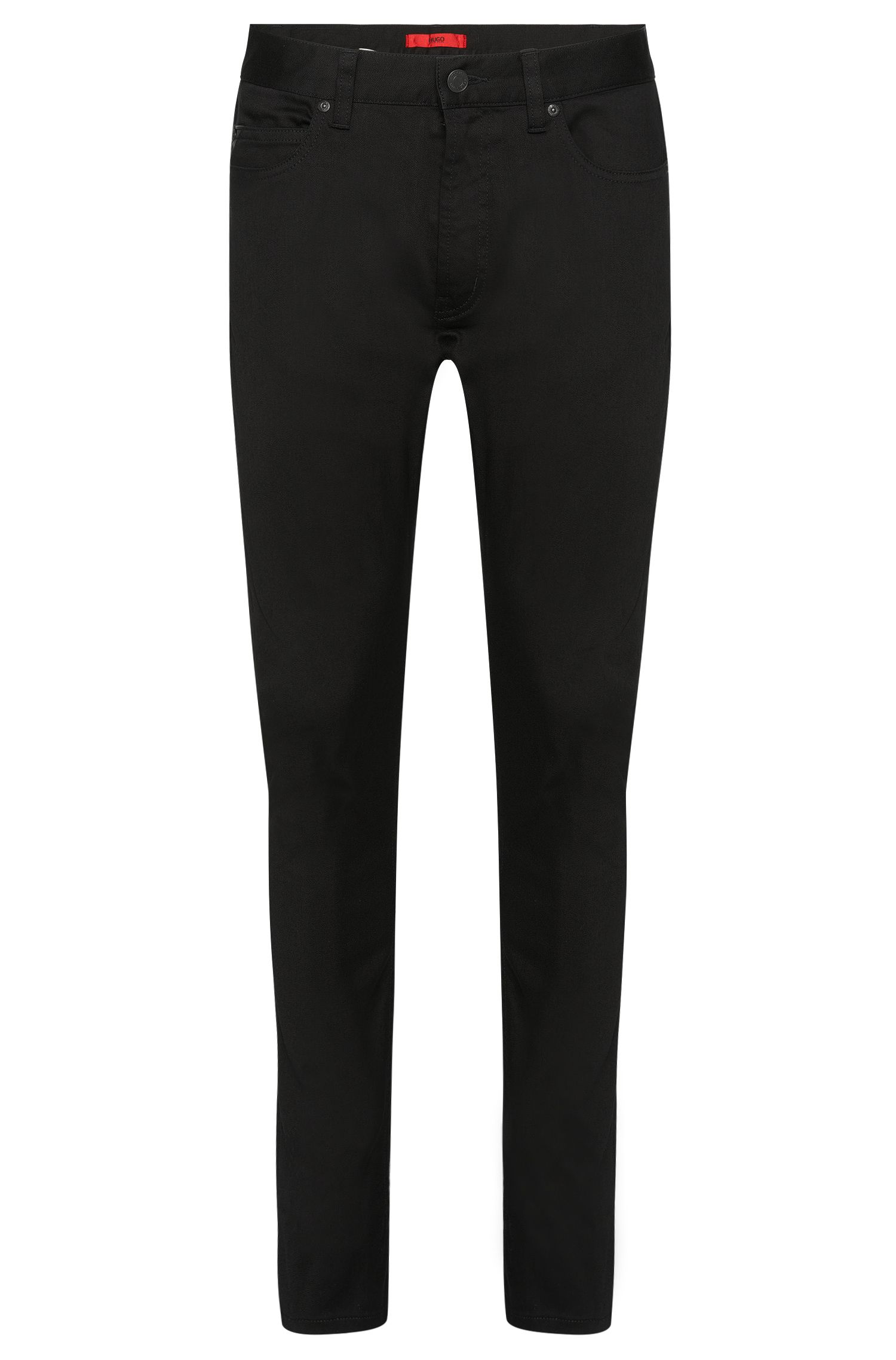 Skinny-fit jeans in stretch cotton with leather-effect details: 'Hugo 734/35'