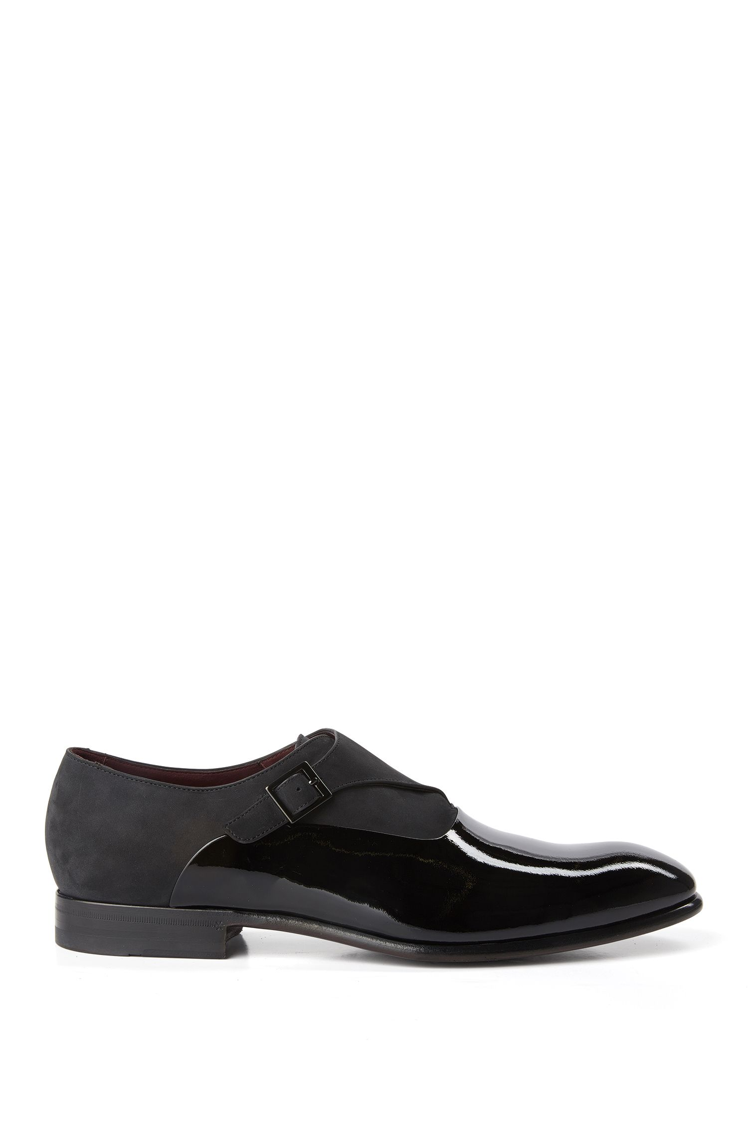 Tailored monk shoes in suede and patent leather: 'T-Legend_Monk_panu'