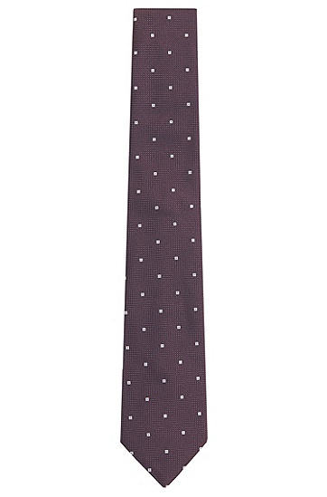Krawatte aus Seide mit Quadrat-Muster: 'Tie 7,5 cm', Dunkel Lila