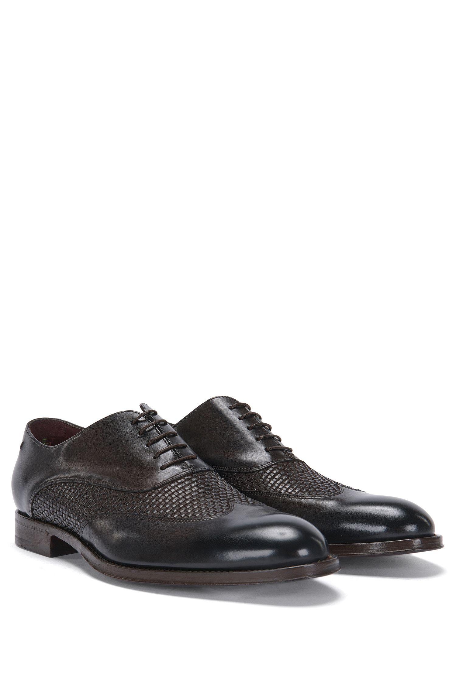 Chaussures à lacets Tailored en cuir à la structure tressée: «T-Idol_Oxfr_wowt»
