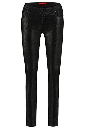 Super Skinny-Fit Jeans aus Baumwoll-Mix im Metallic-Look: 'Georgina', Schwarz