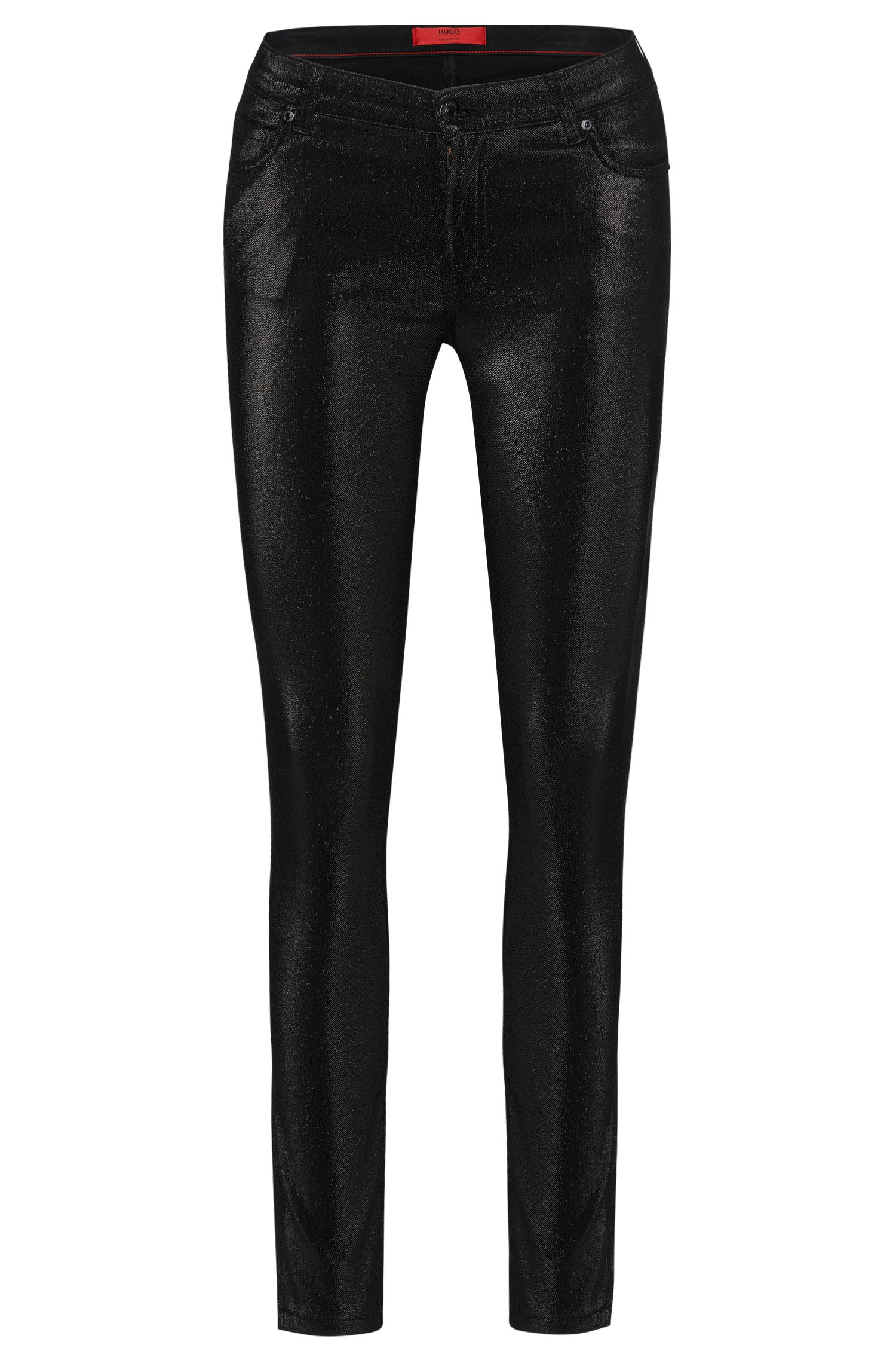 Super Skinny-Fit Jeans aus Baumwoll-Mix im Metallic-Look: 'Georgina'