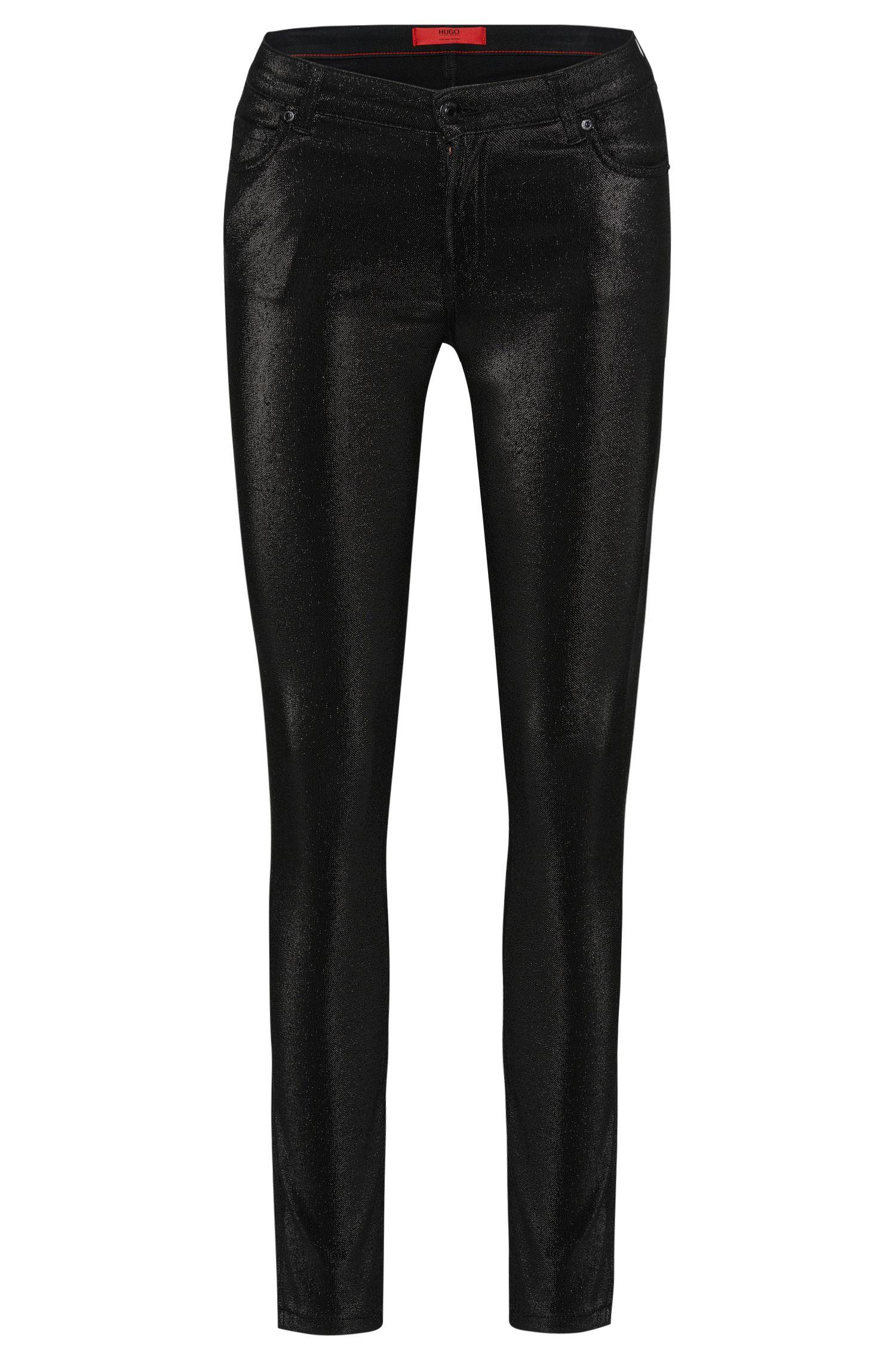 Super skinny-fit jeans van een katoenmix met metallic-look: 'Georgina'
