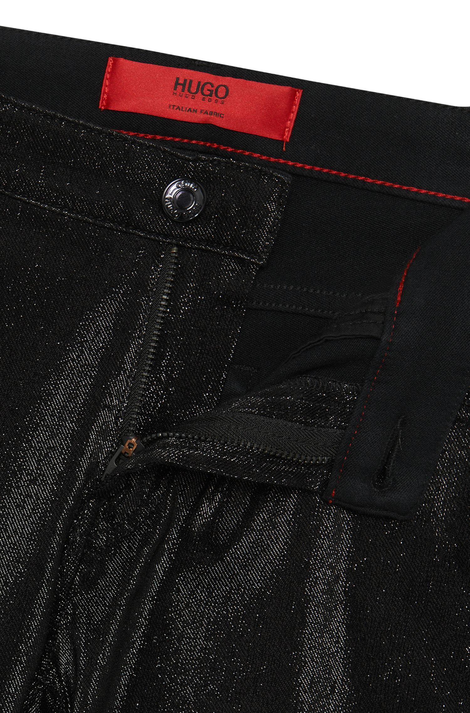 Jeans Super Skinny Fit en coton mélangé au look métallisé: «Georgina»