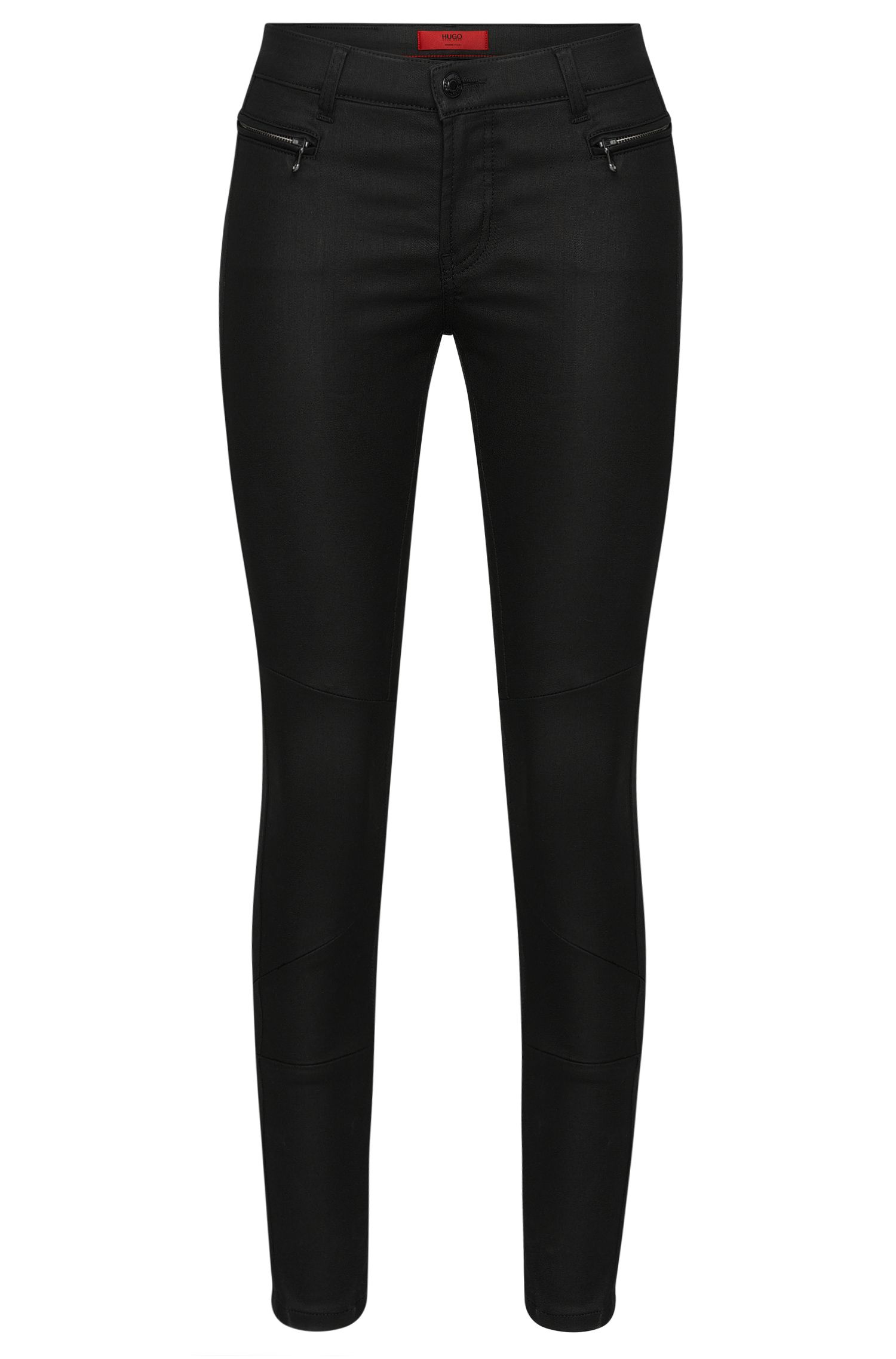 Skinny-fit jeans van een katoenmix in bikerstijl: 'Gilljana/10'