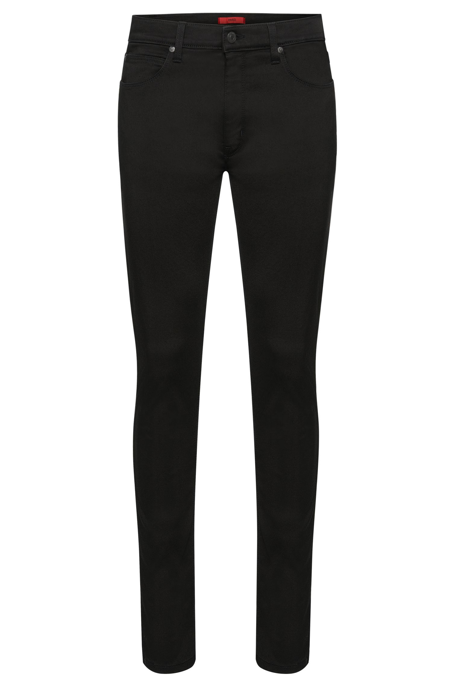 Plain-coloured skinny-fit jeans in a stretchy cotton blend: 'HUGO 734'