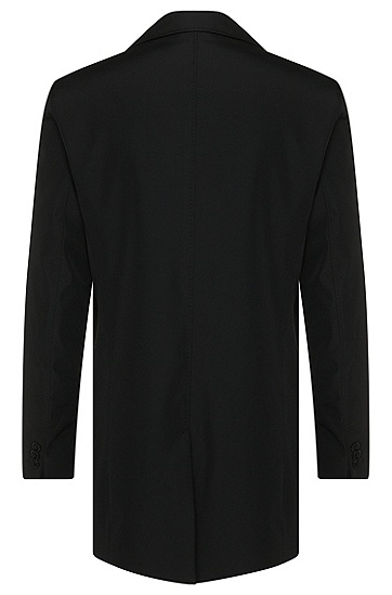 Regular-Fit Mantel aus wasserabweisendem Gewebe: 'C-Dais6', Schwarz