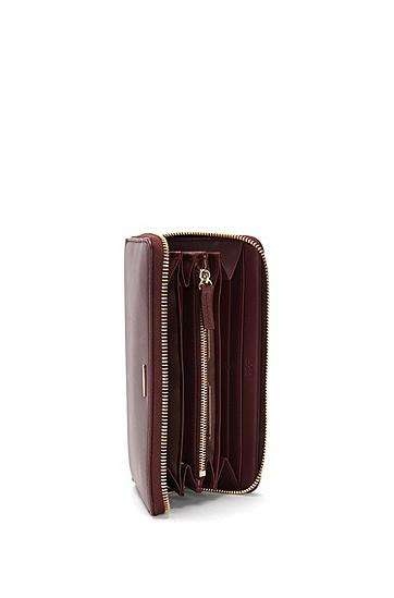 Unifarbene Geldbörse aus Leder: 'Staple Ziparound-M', Dunkelrot