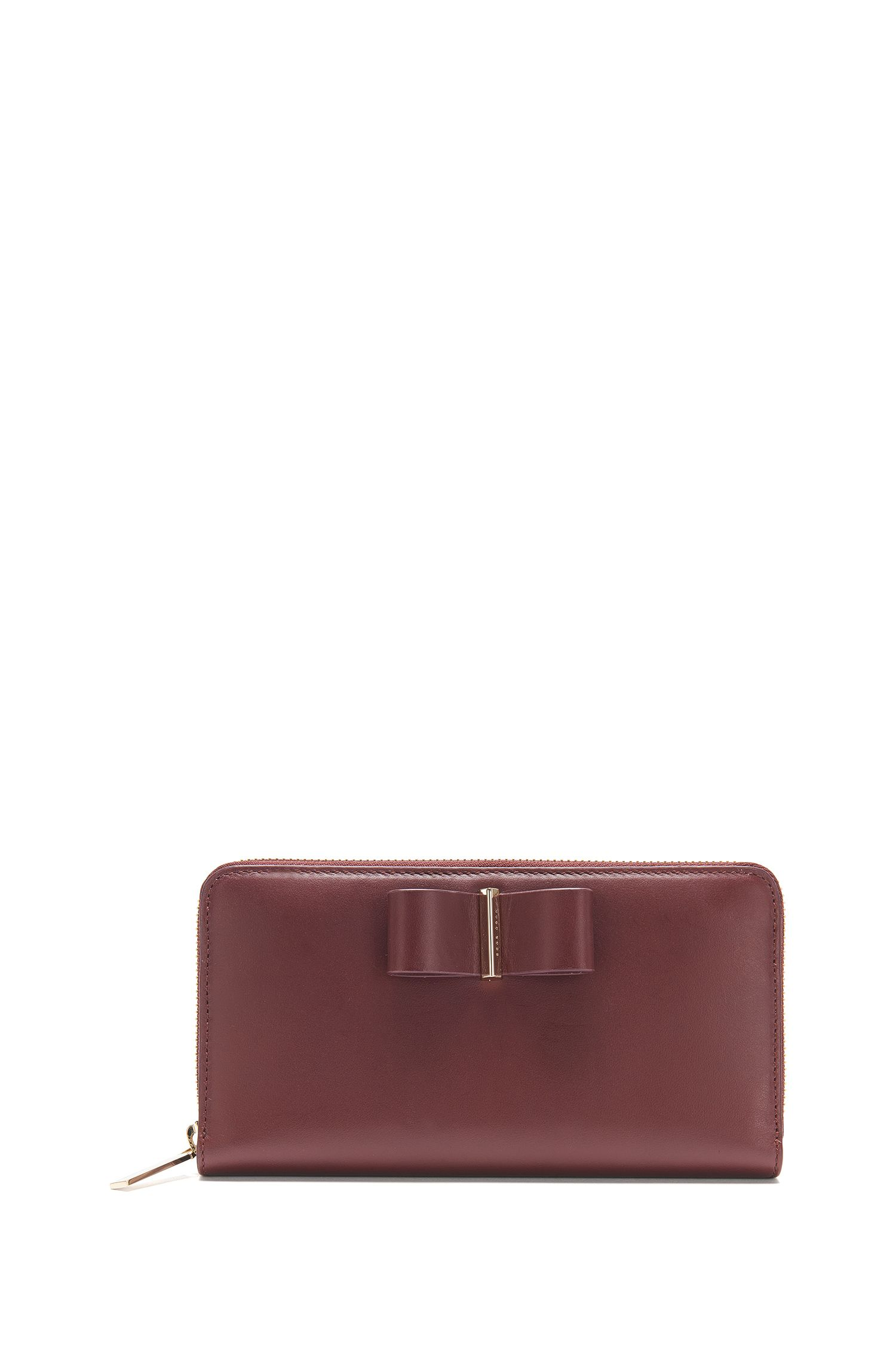 Leather wallet with bow detail: 'Bow Ziparound-M'
