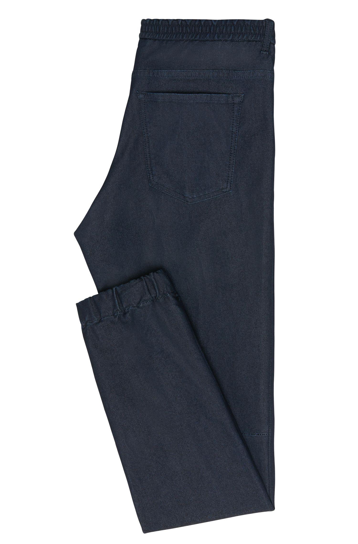 Jeans Tapered Fit en coton mélangé doté de bordures élastiques: «Orleans»