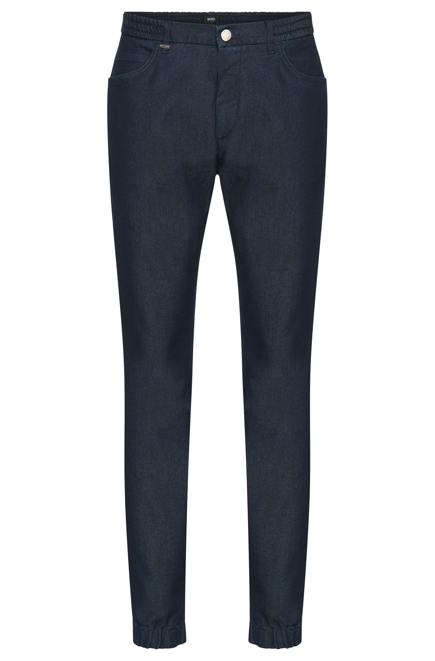 Tapered-fit jeans in cotton blend with elasticated cuffs: 'Orleans'