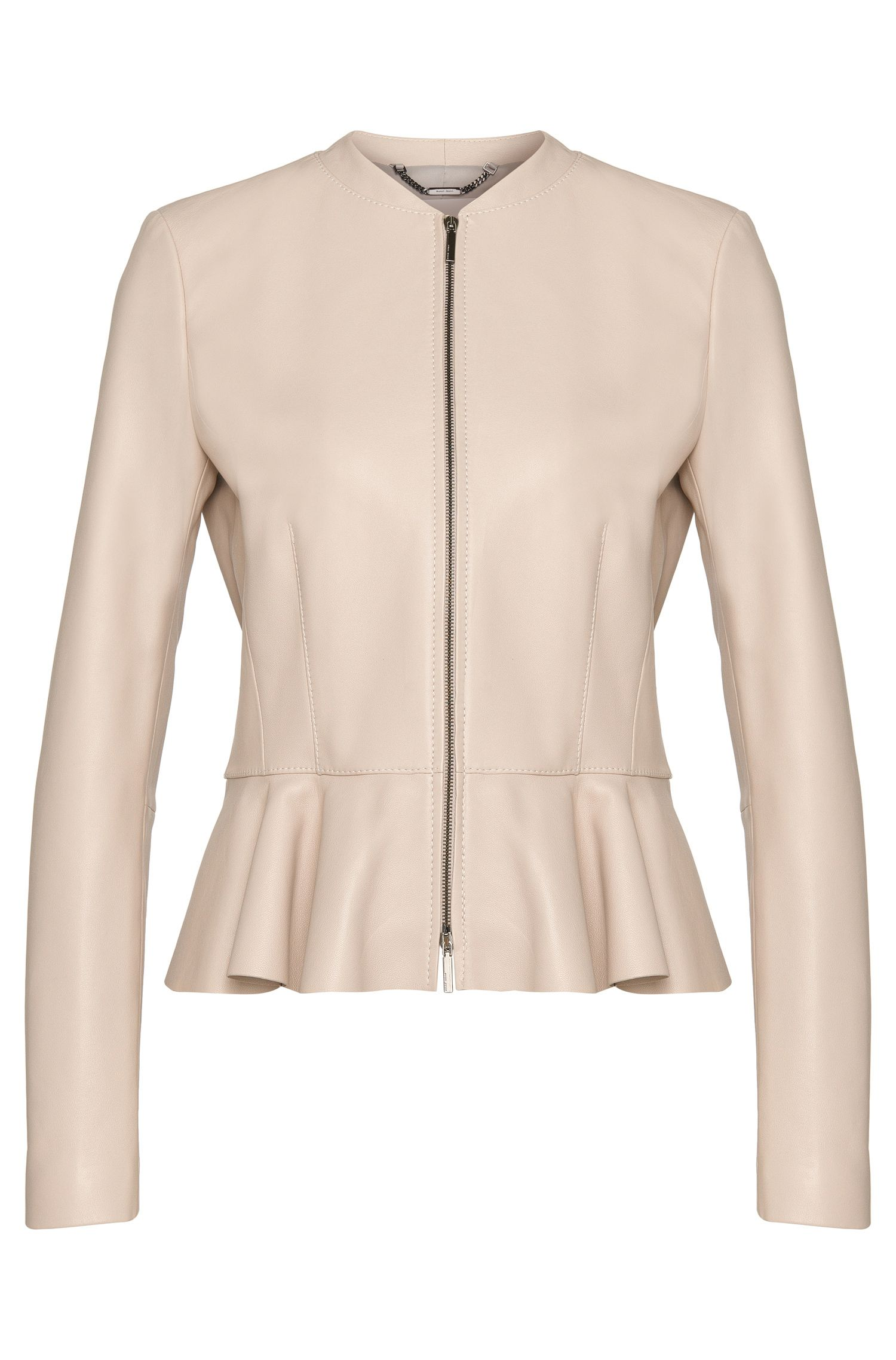 Leather jacket with peplum: 'Safisse'
