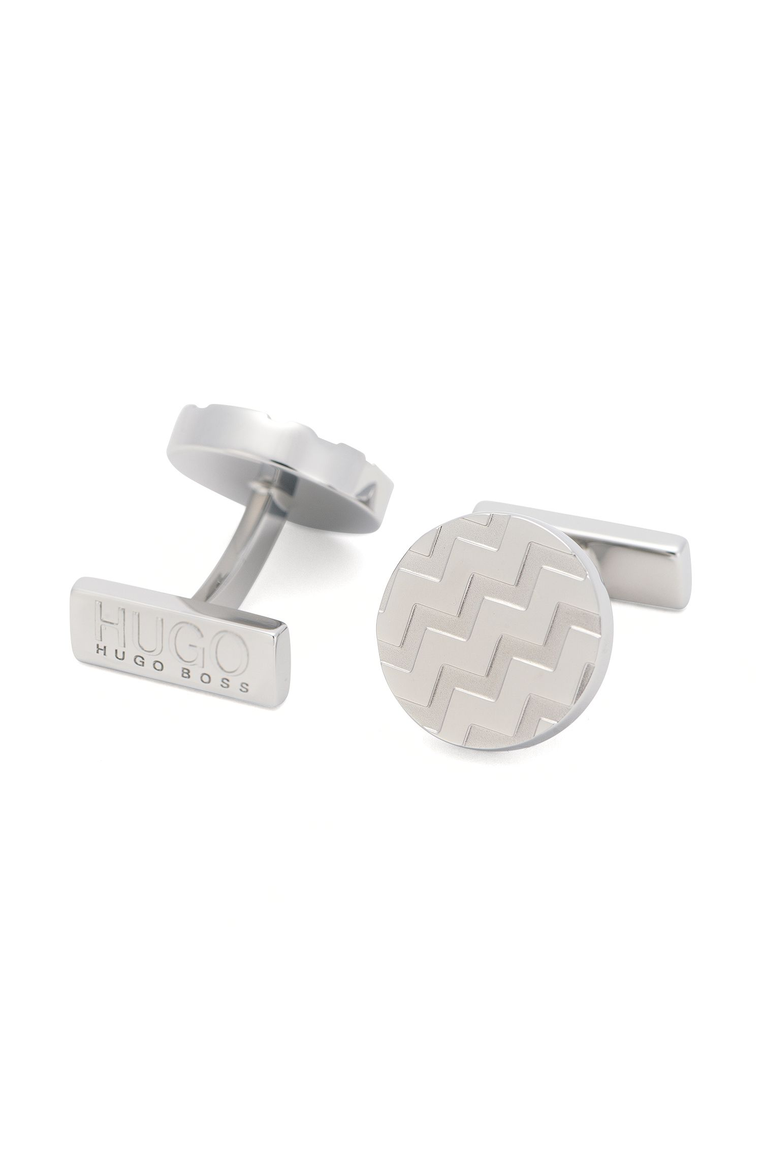 Round cufflinks with zigzag linear pattern: 'E-Chevron'