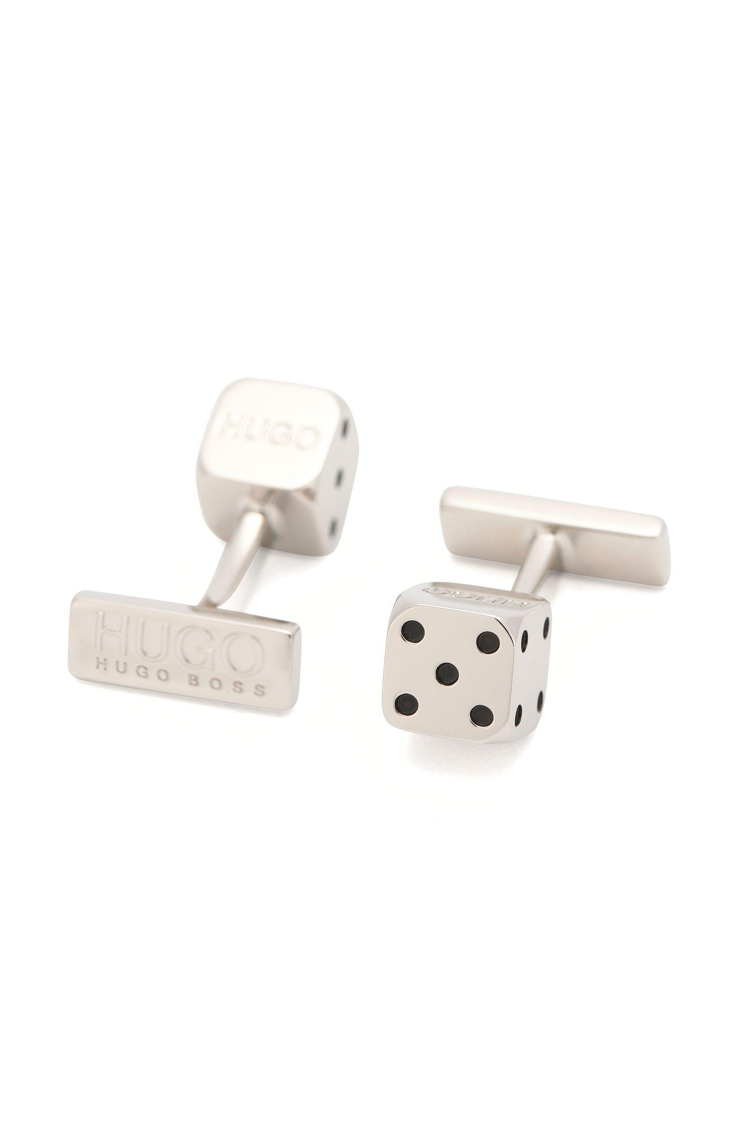 Brass cufflinks with dice element: 'E-DICE'
