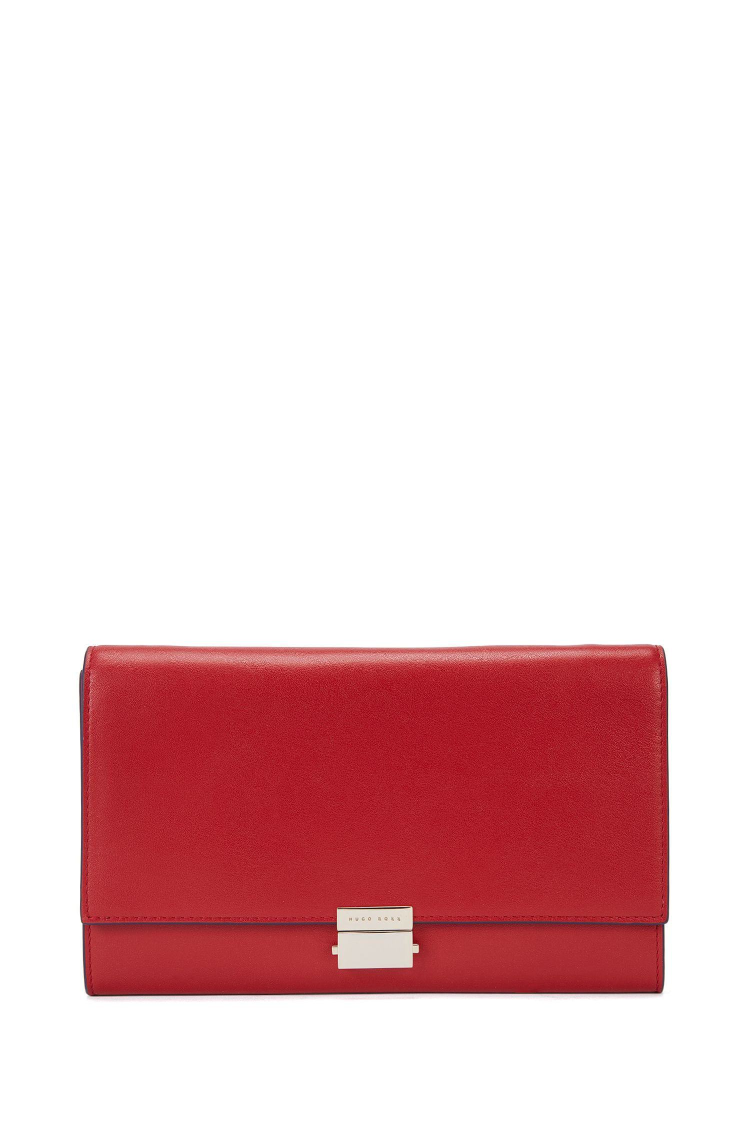 Unifarbene Clutch aus Leder mit Metallkette: 'Munich Mini-M'