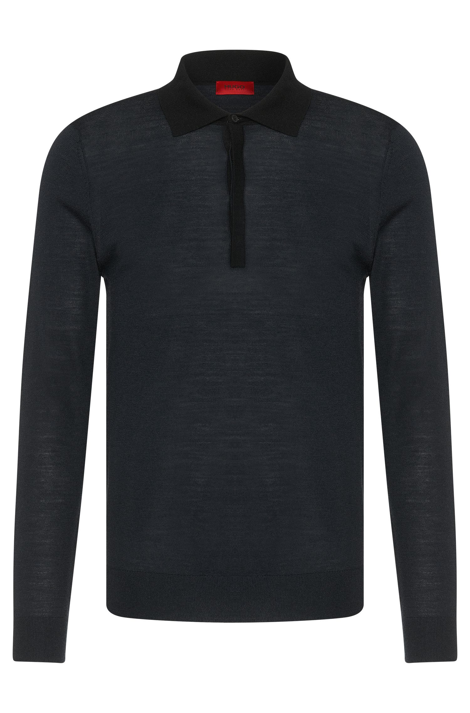 Slim-fit sweater in new-wool blend with polo collar: 'Seven'