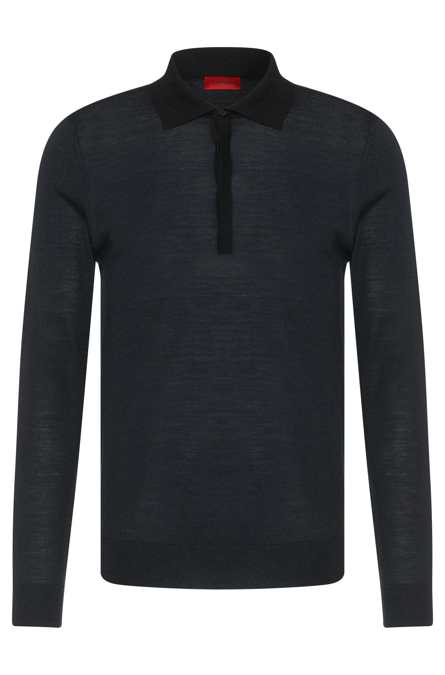 Maglione slim fit in misto lana vergine con colletto polo: 'Seven'