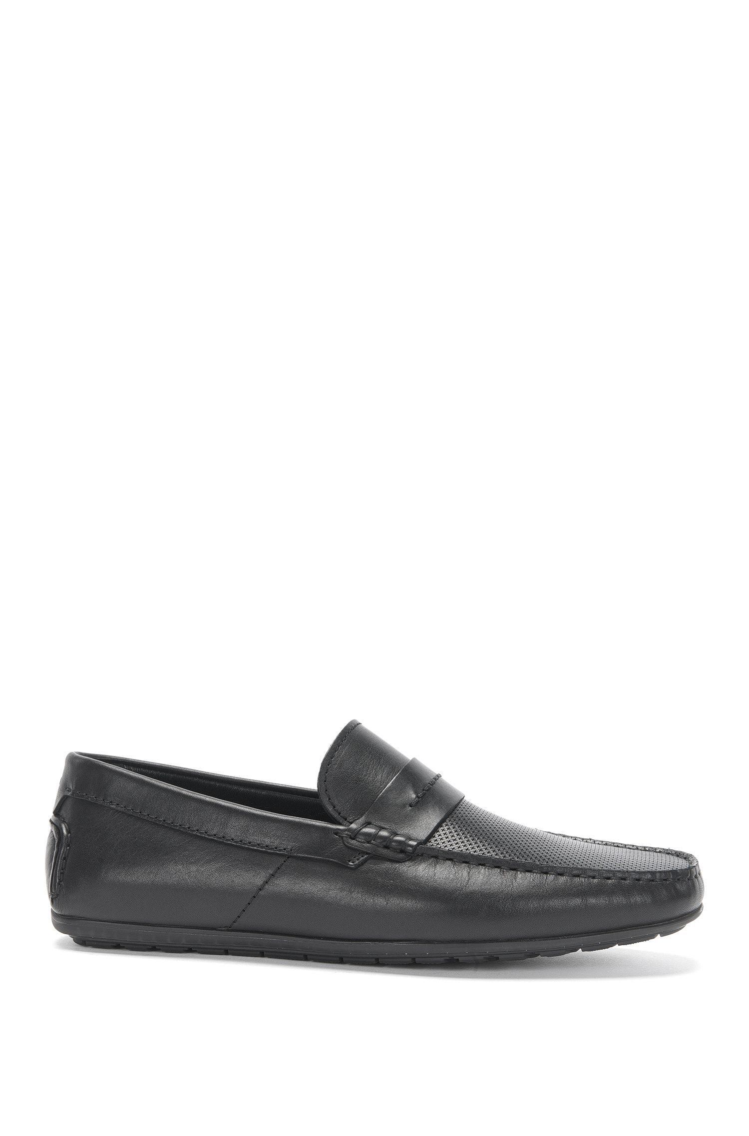 Leather moccasins with perforated front: 'Dandy_Mocc_plpr'