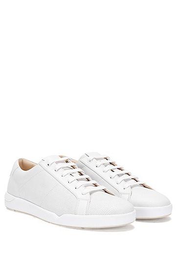 Sneakers aus Leder mit Allover-Prägung: 'Fusion_Tenn_Itexo', Weiß