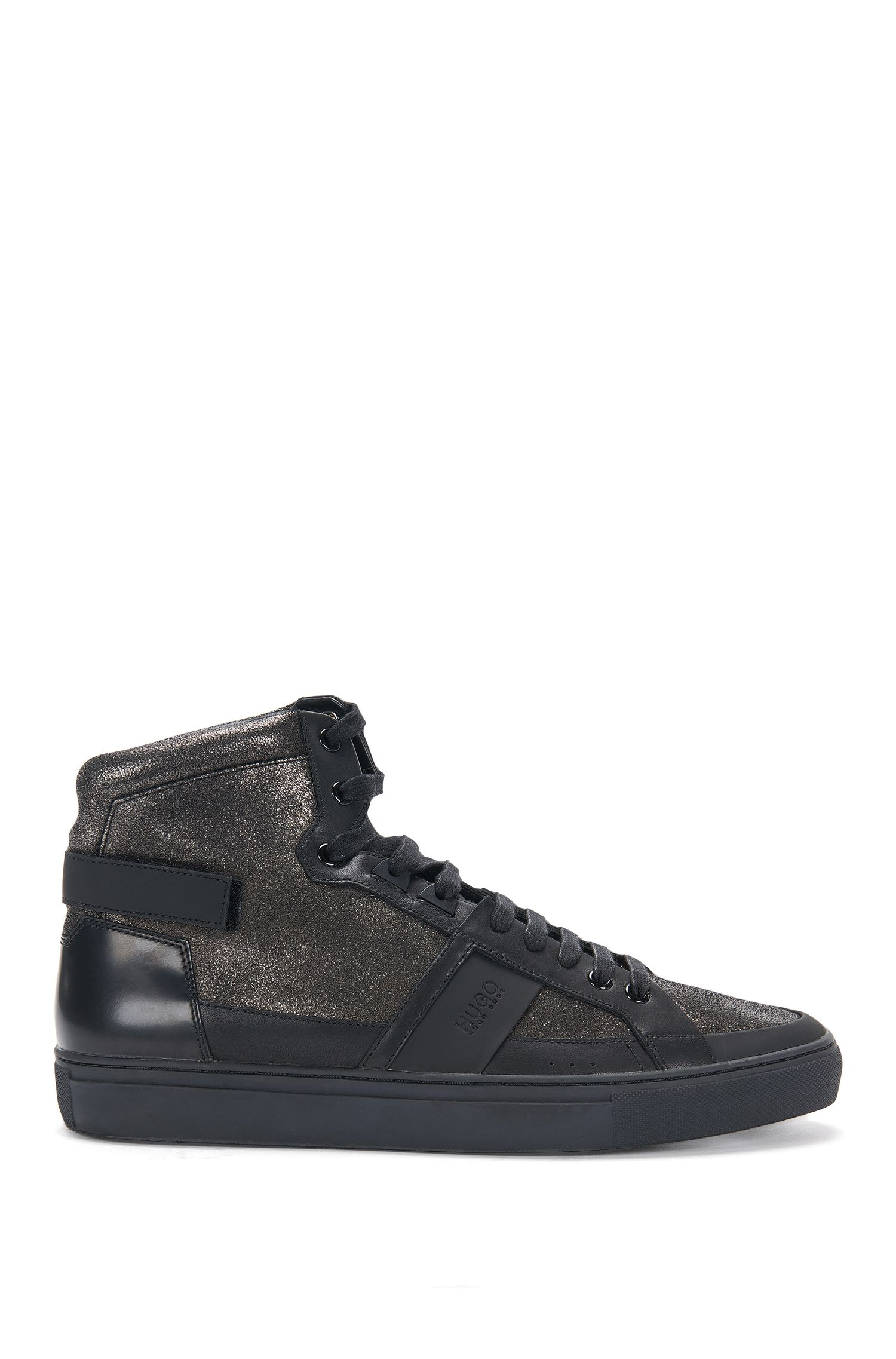 Hoge leren sneakers in metallic look: 'Futurism_Hito_mxgl'