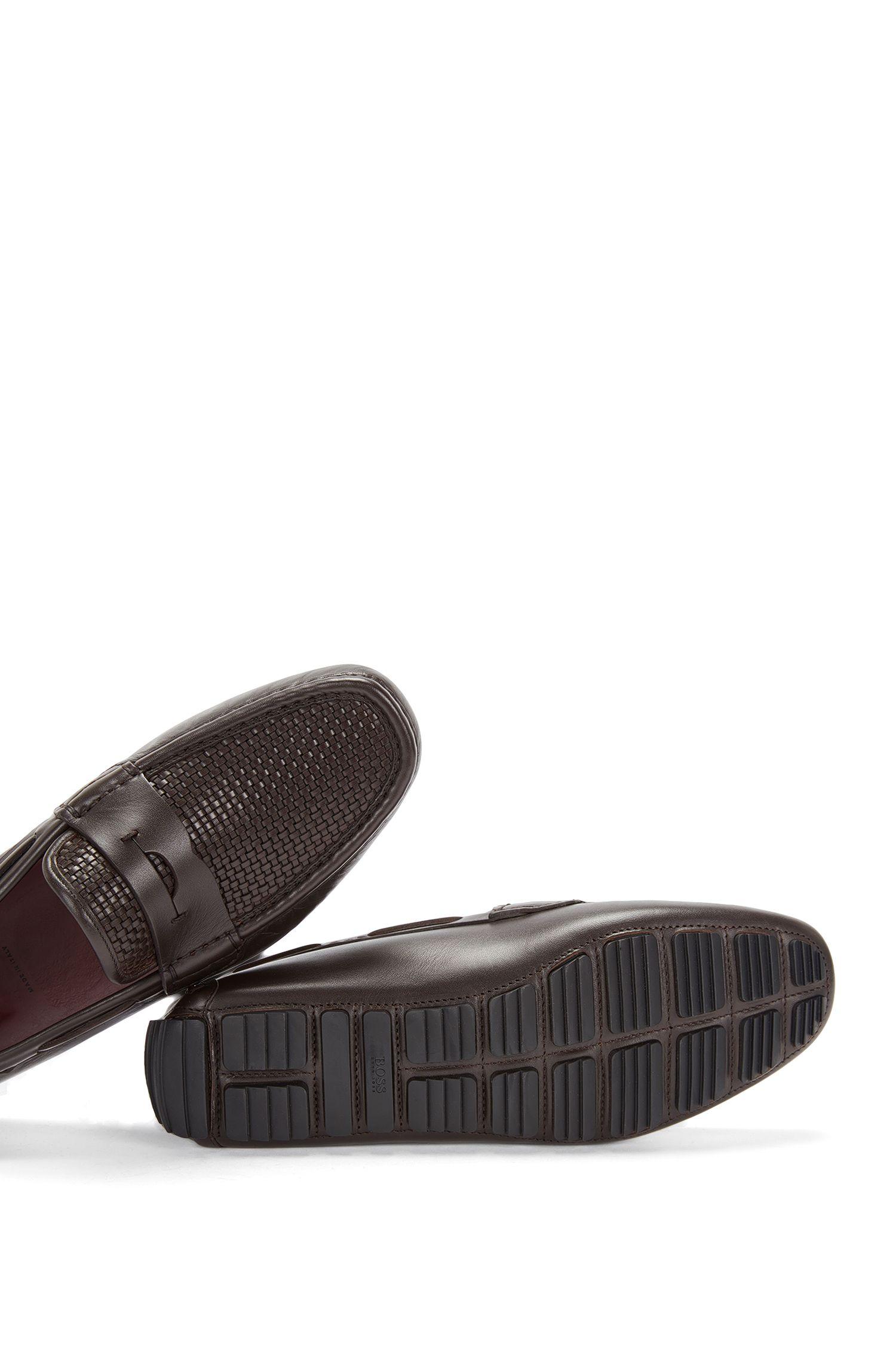 Mocassins Tailored en cuir pourvus de parties tressées: «T-Driver_Mocc_wo»
