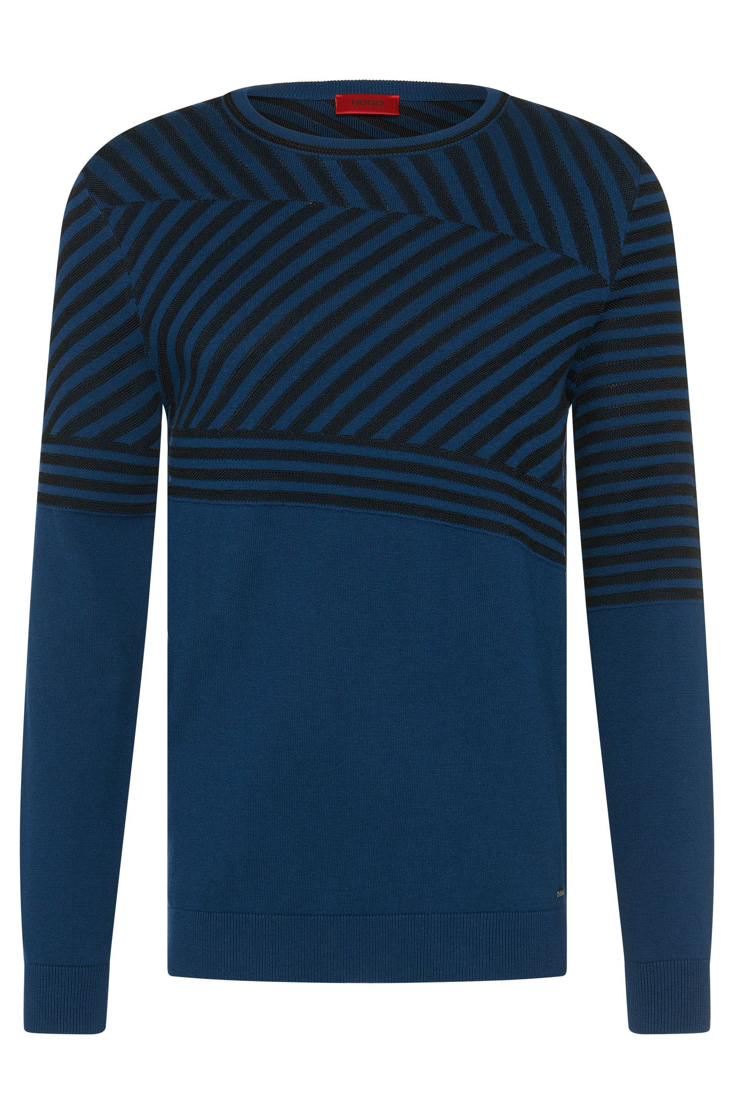 Loosely fitting sweater in cotton blend with silk and cashmere: 'Sagano'