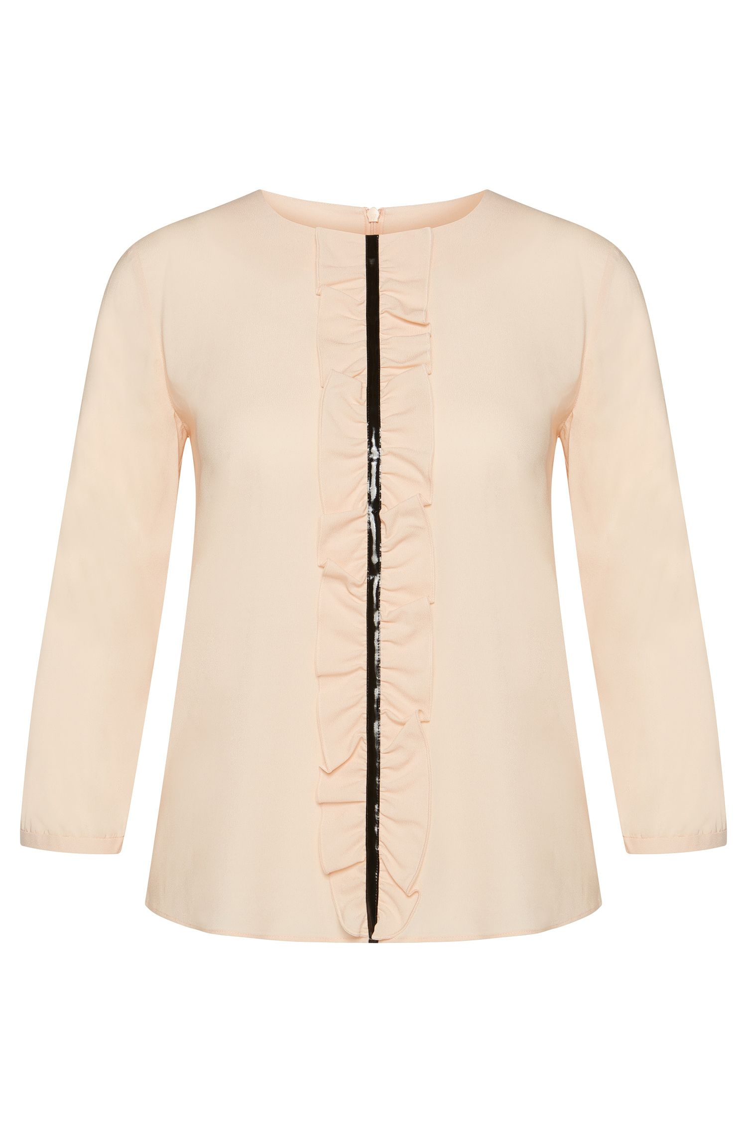 Blouse in stretch viscose with flounced panel: 'Clarite-2'