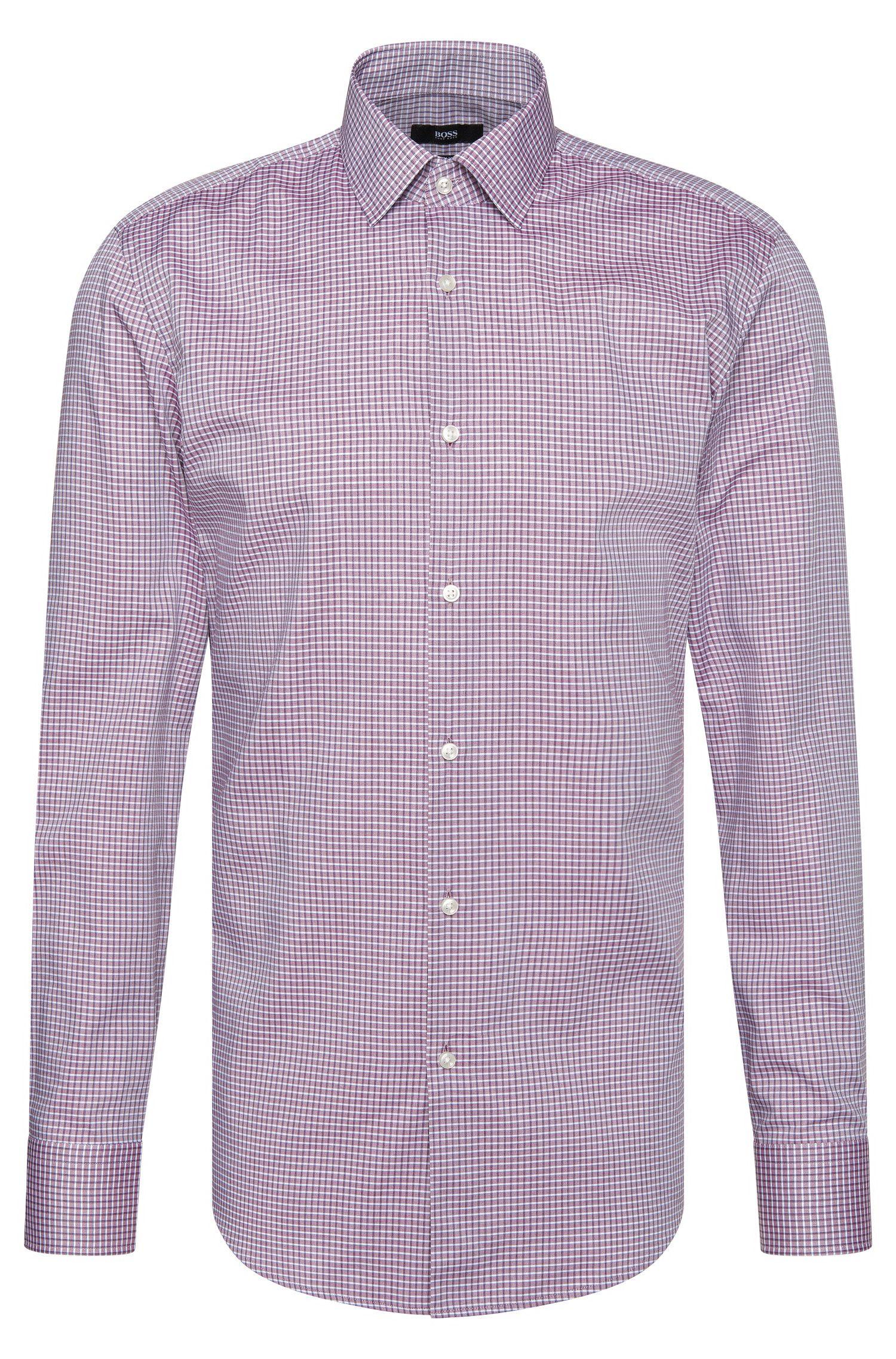 Camicia slim fit a quadri in cotone: 'Jenno'
