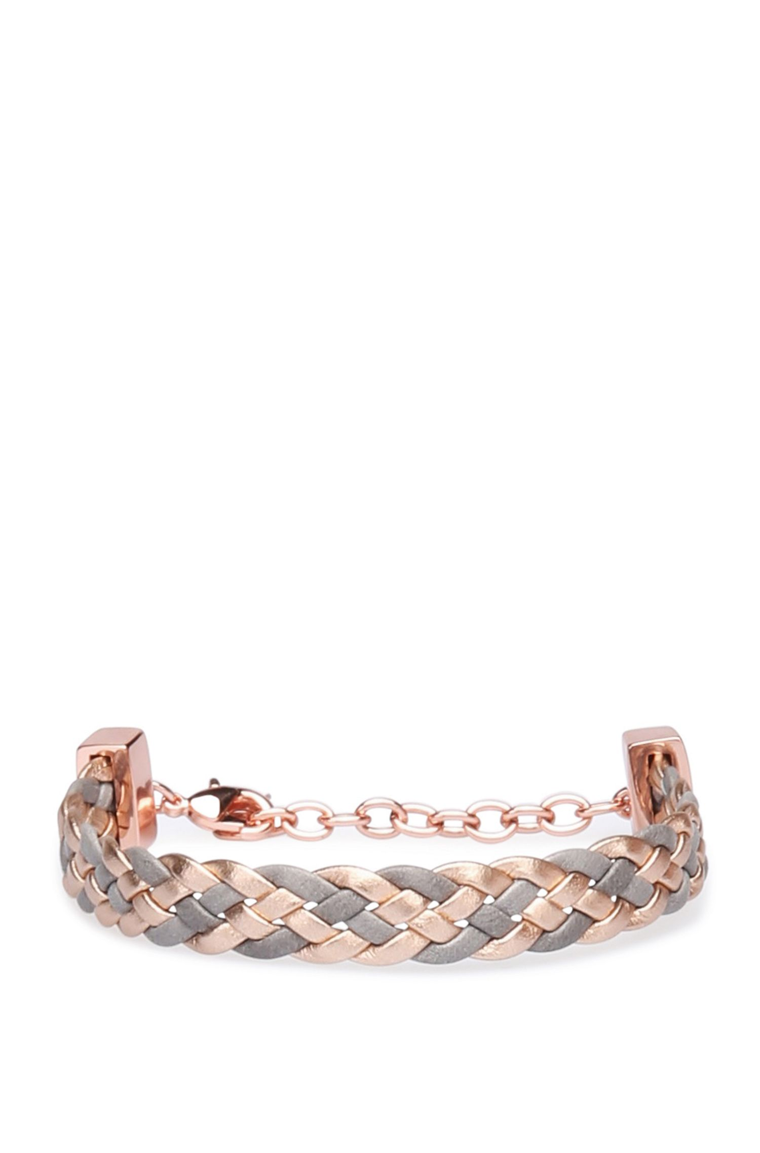Repeatedly braided bracelet in leather: 'Melissa'