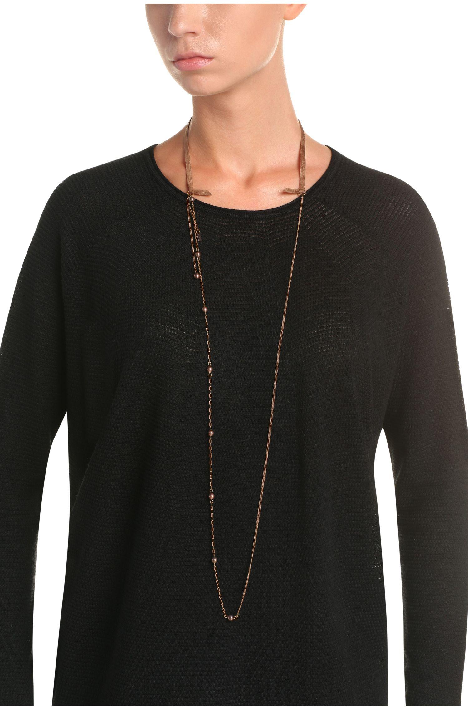 Délicat collier de perles avec bande imitation cuir-velours: «Marnie»