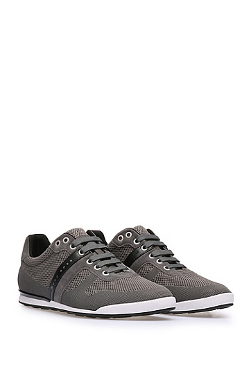 Low Top Sneakers aus Leder und Textil in Strick-Optik: ´Arkansas_Lowp_syjq`, Dunkelgrau