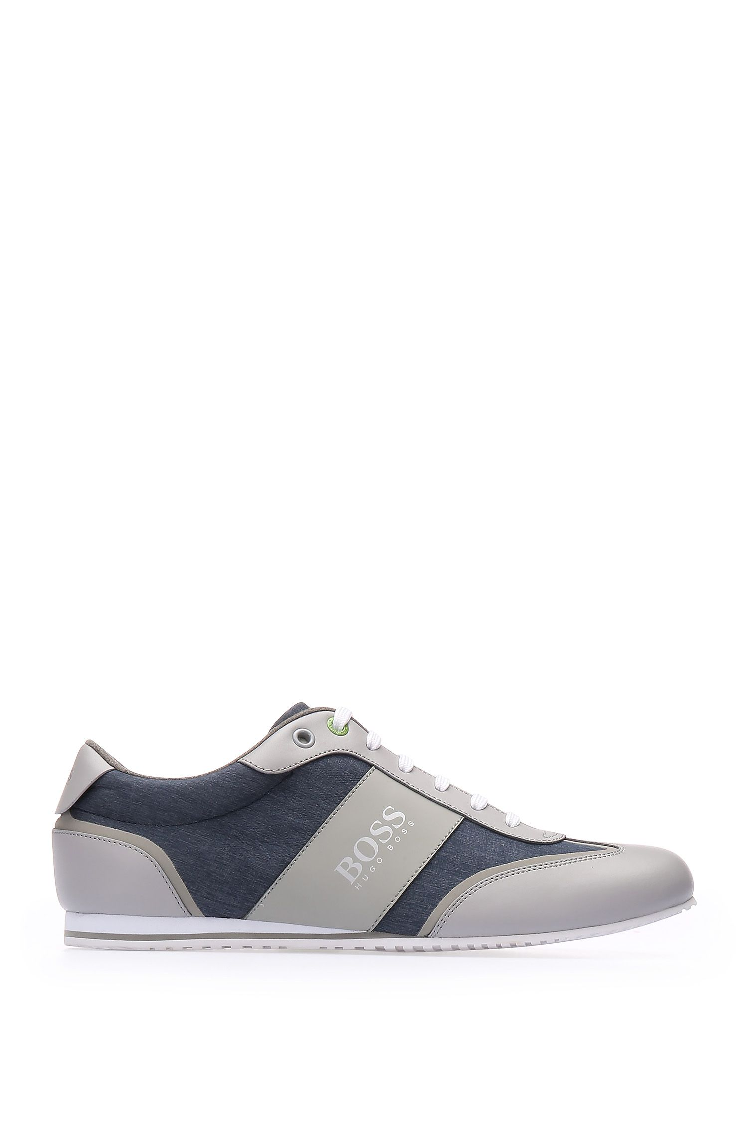 Trainers in smooth leather and textured material mix: 'Lighter_Lowp_nych'
