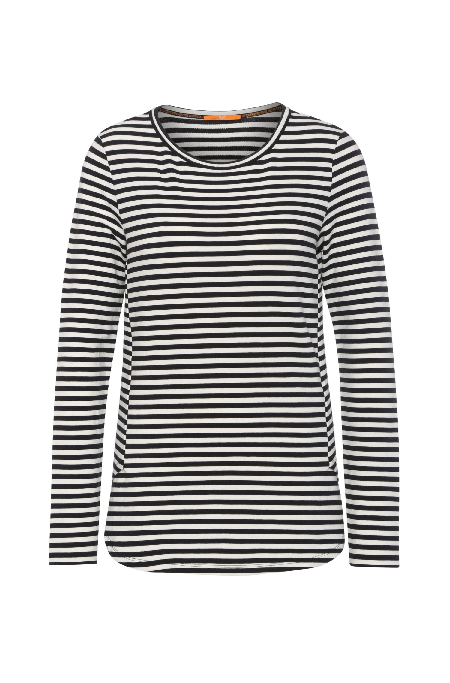 Slim-fit sweatshirt in stretch viscose blend with cotton: 'Terstripe'
