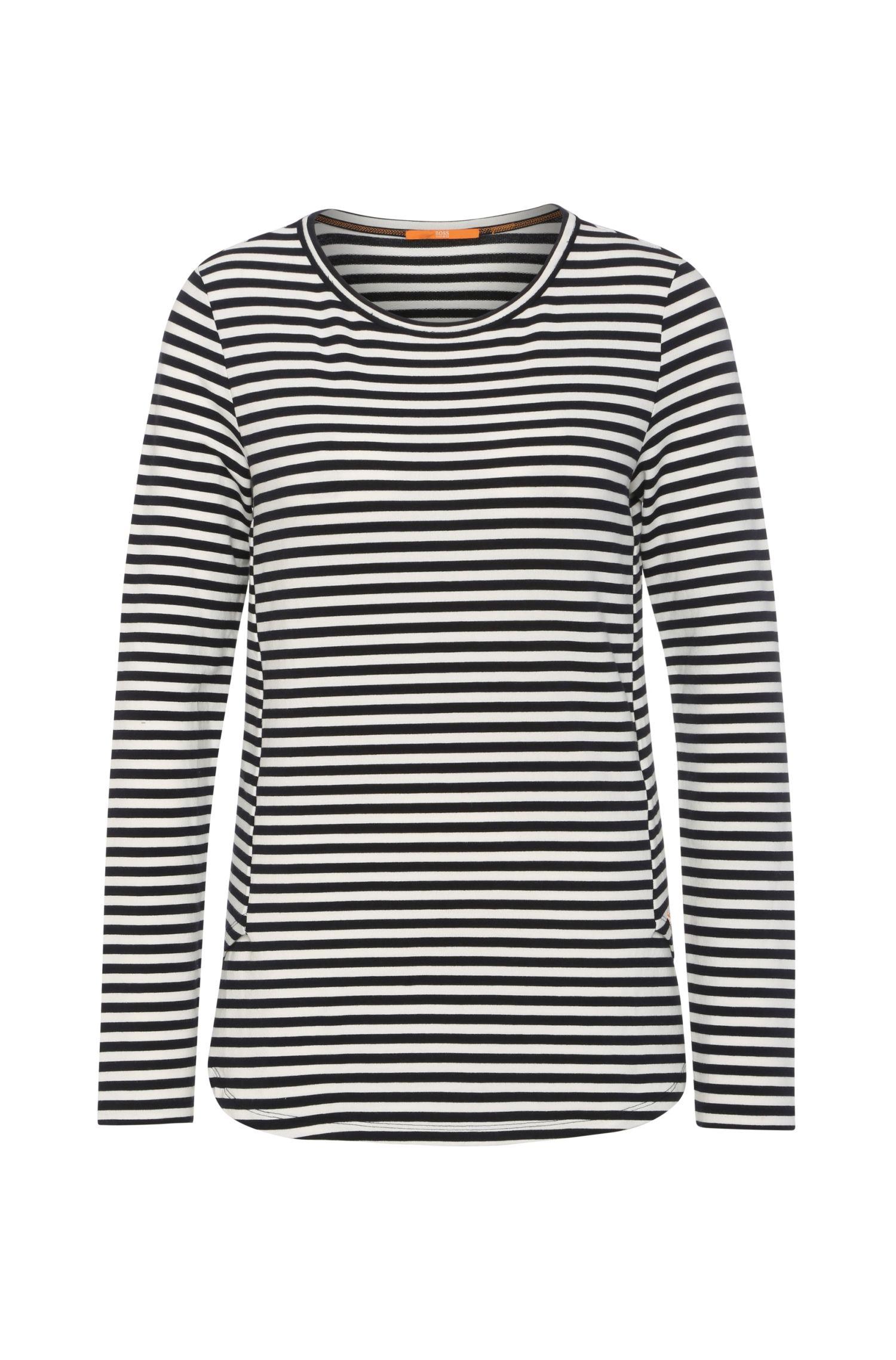 Slim-fit sweatshirt van een elastische viscosemix met katoen: 'Terstripe'