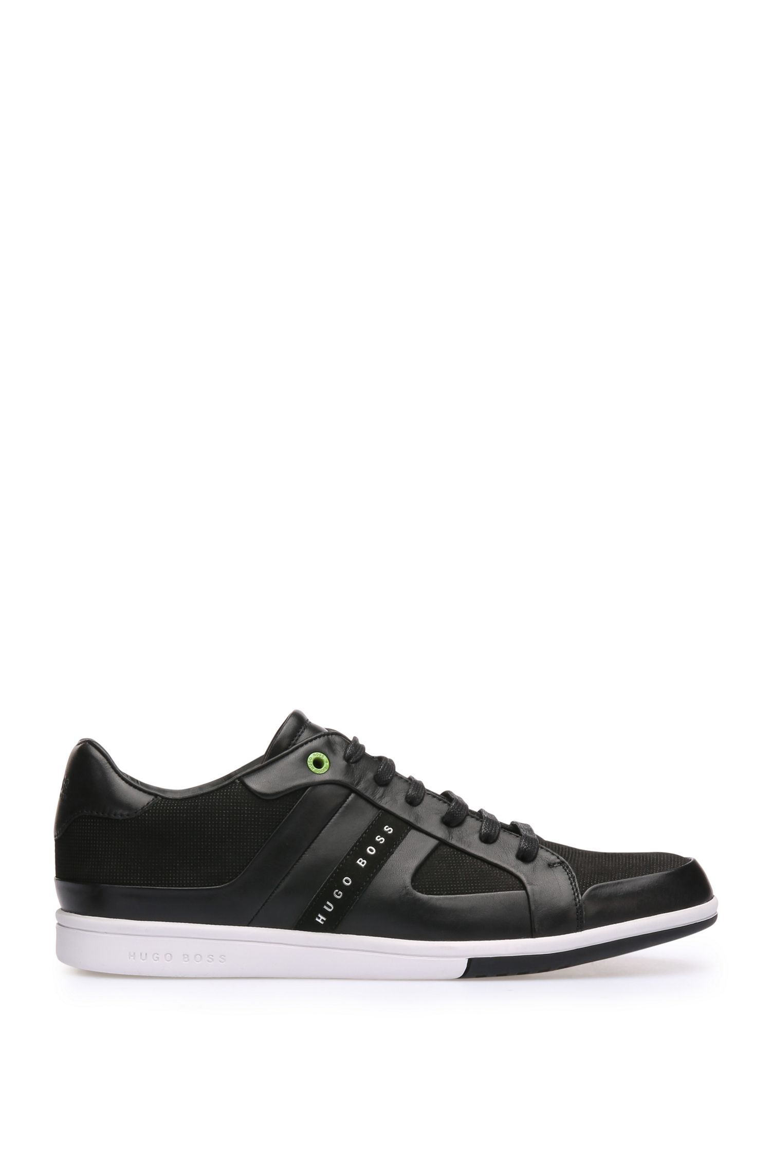 Trainers in smooth and perforated leathers: 'Metro_Tenn_ltnu'