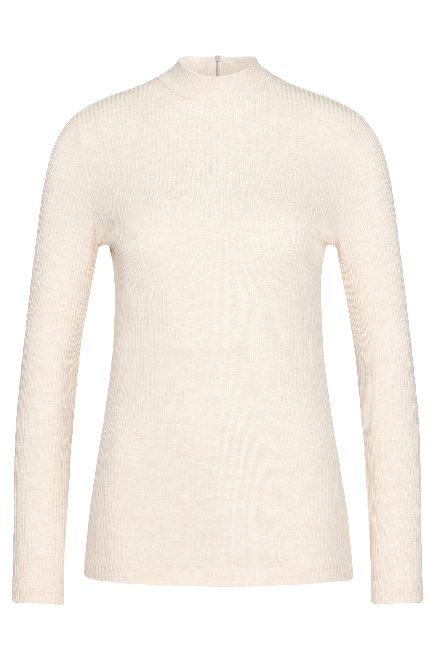 Long-sleeved top in stretch viscose with band collar: 'Elaise'
