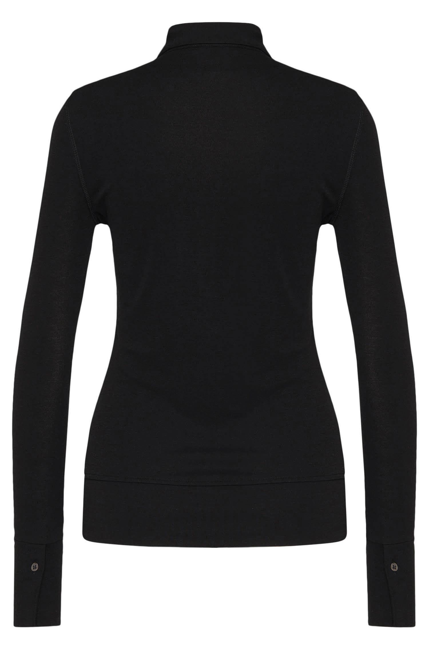 T-shirt à manches longues de style polo à rabats décoratifs: «Evesi»