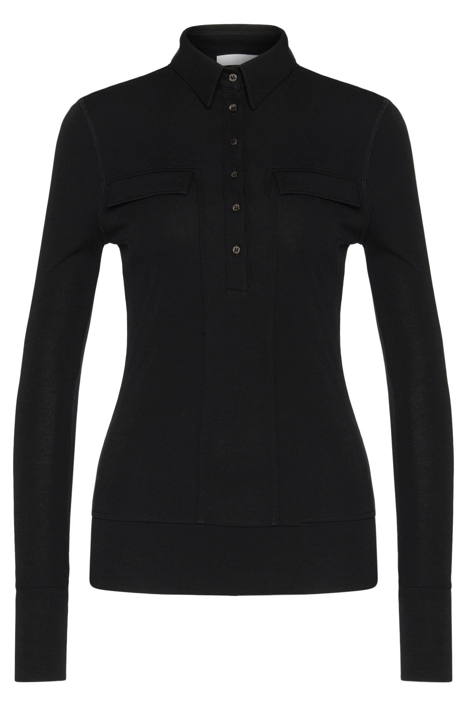 Long-sleeved polo-style shirt with decorative flaps: 'Evesi'