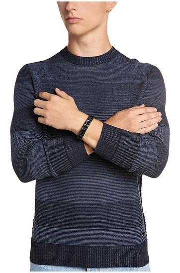 Leder-Armband in Flecht-Optik: ´Maddox`, Schwarz