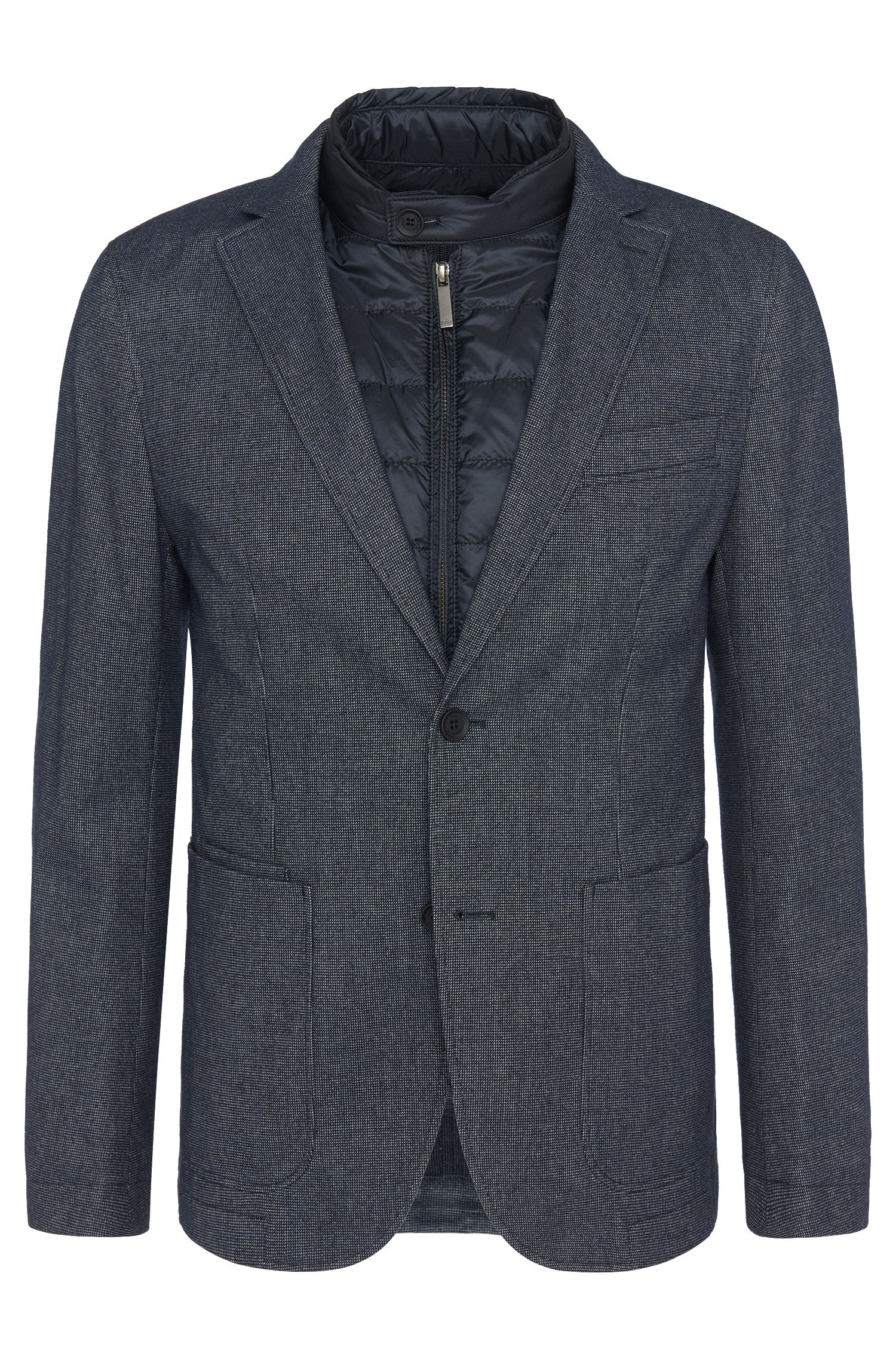 Checked slim-fit jacket in cotton with detachable insert: 'Nalmar-T'