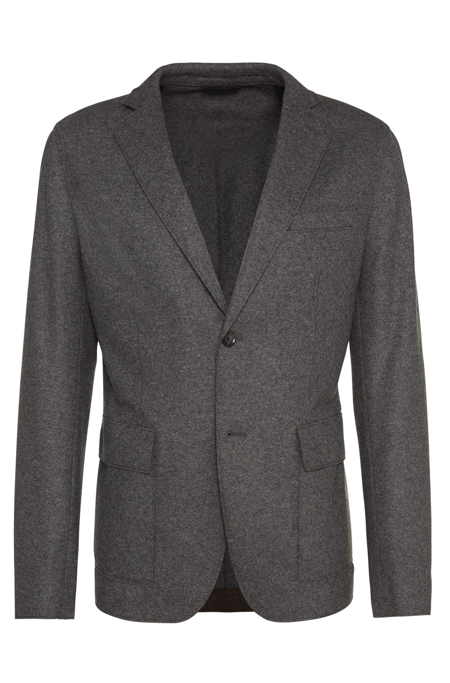 Slim-fit jacket in pure new wool with raw edge finish: 'Nordin'