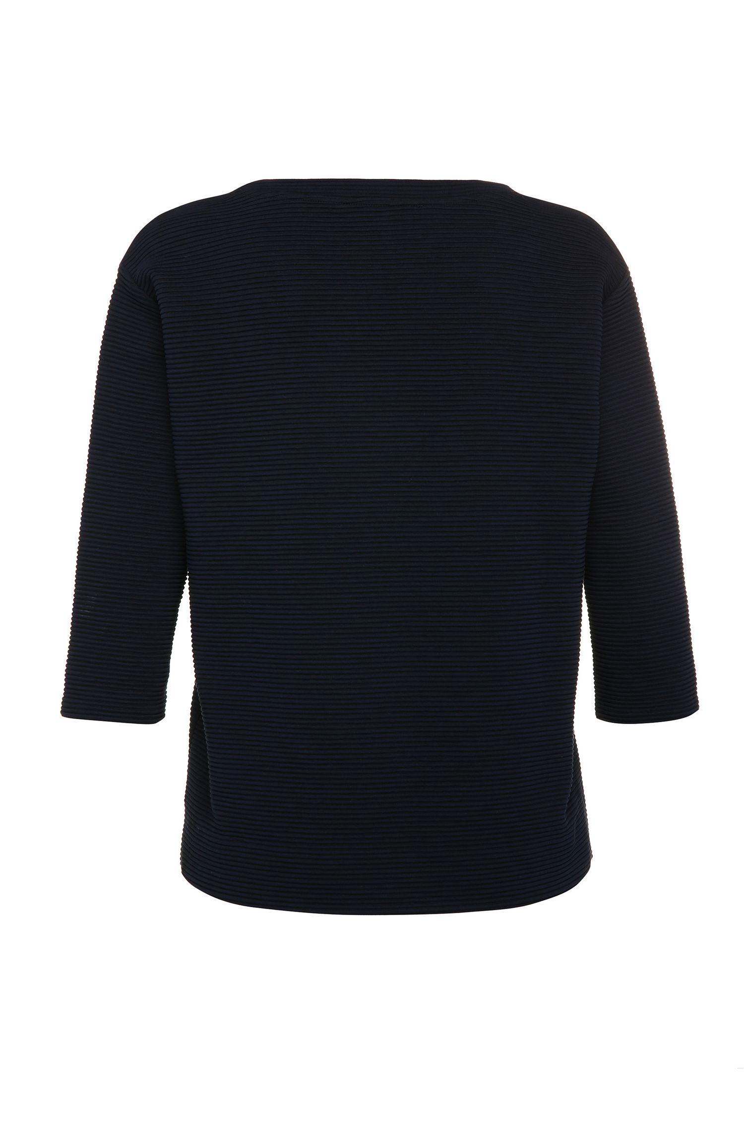 Gestreift strukturierter Regular-Fit Pullover aus elastischem Baumwoll-Mix: ´Tripy`