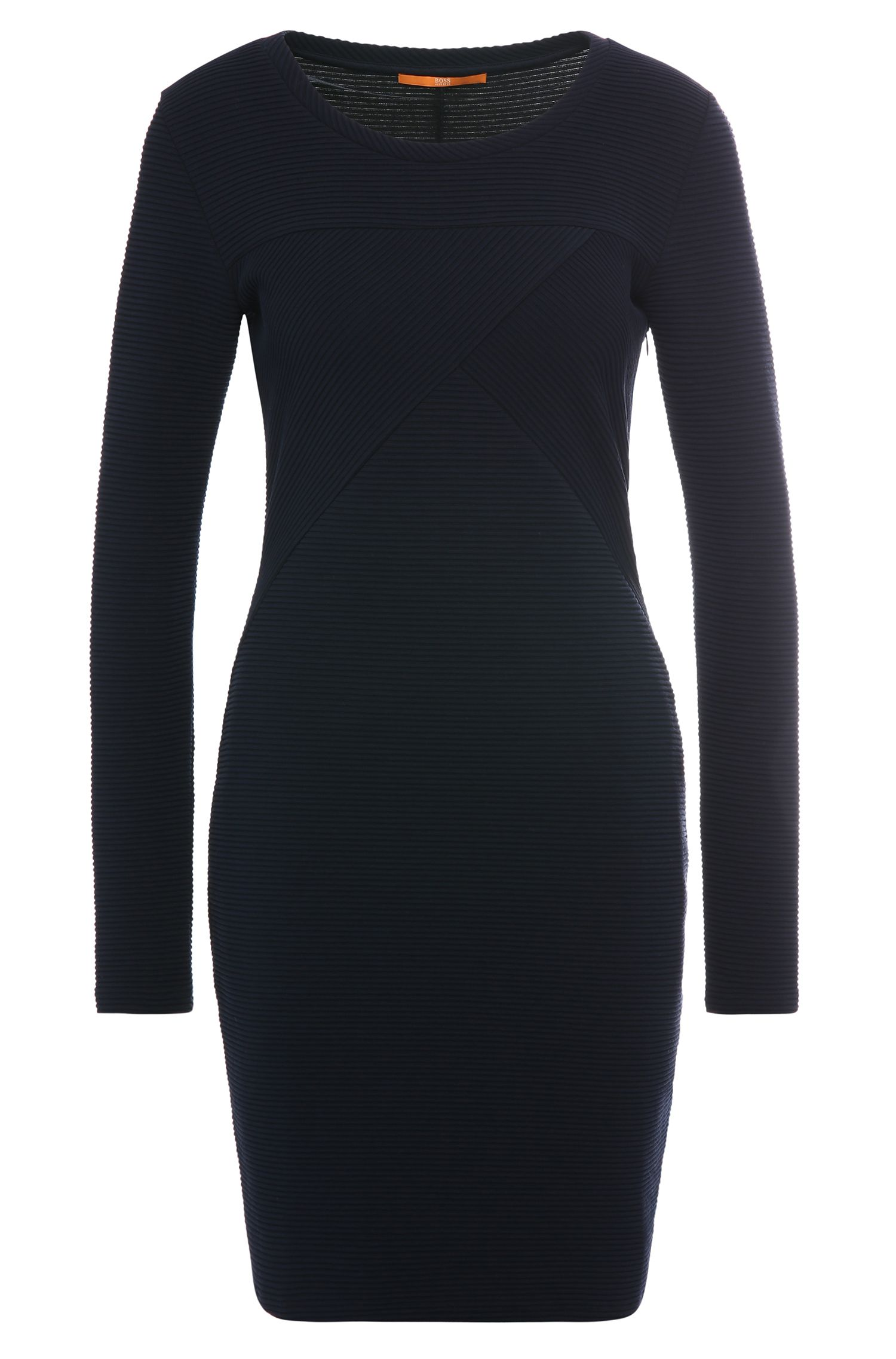 Textured slim-fit dress in a stretchy cotton blend: 'Derbody'