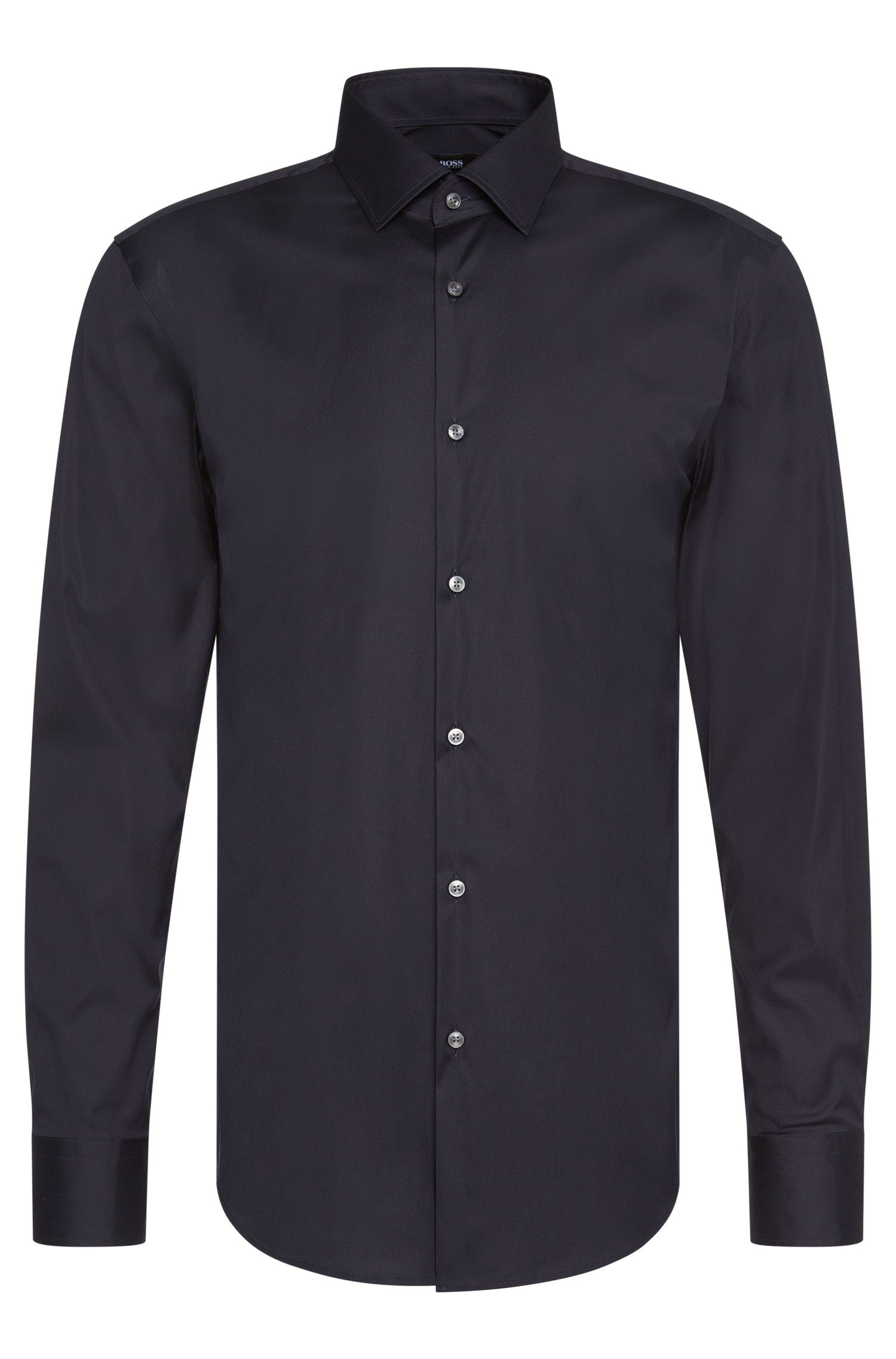 Plain slim fit shirt in cotton blend: 'Jenno'