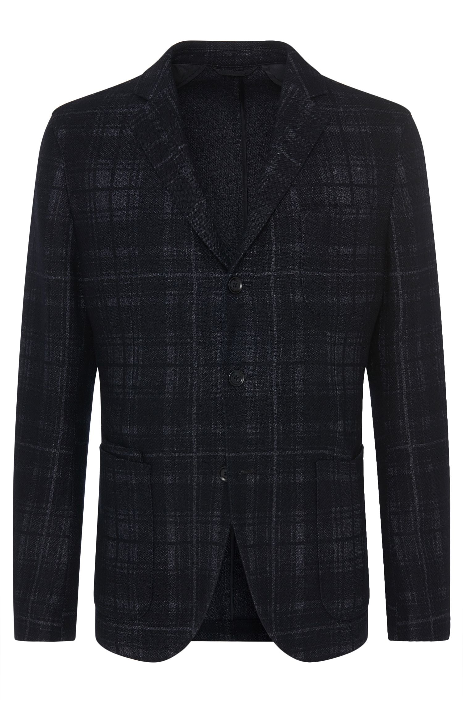 Checked slim-fit jacket in new-wool blend: 'Nolius-D'