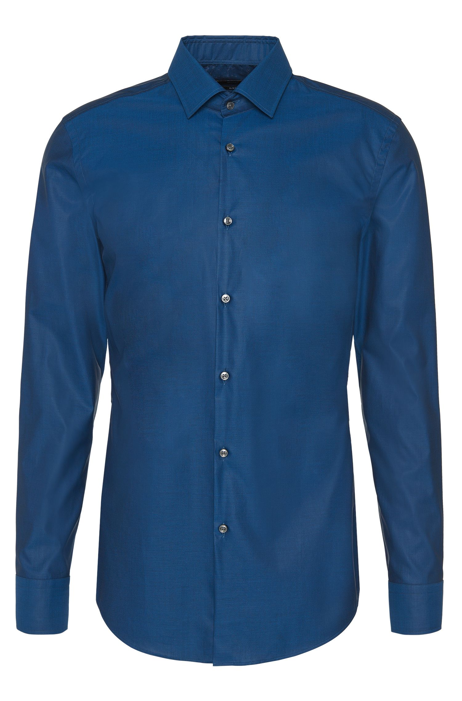 Camicia slim fit in cotone tinta unita: 'Jenno'