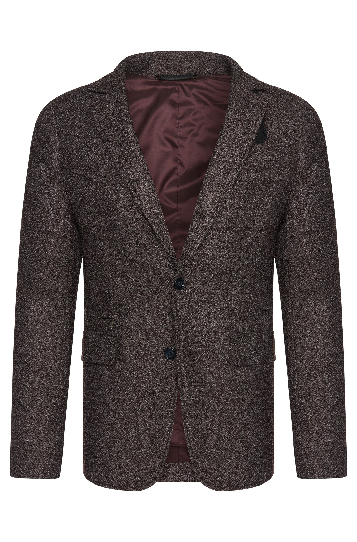 Veste de costume Slim Fit Tailored en laine mélangée à la finition bouclette : « T-Niklaas »